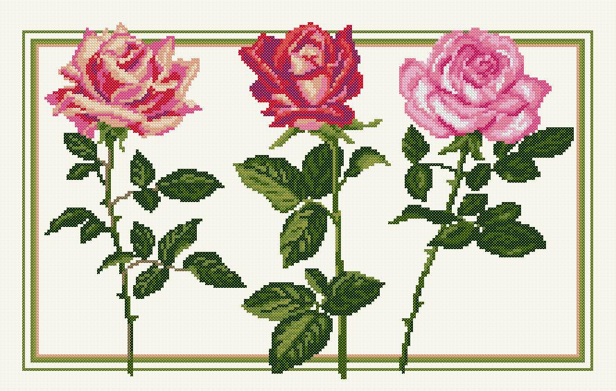Kit point de croix - Les Roses - Ets Anne Loison