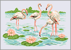 Broderie - Les flamants roses